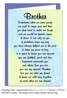 Brother Verse Gift Set - Card, Keyring & Magnet - Special Birthday Present Brother Poems From Sister, Happy Birthday Brother From Sister, Brother Sister Love Quotes, Brother Birthday Quotes, Happy Birthday Wishes Quotes, Sister Quotes Funny, I Love My Brother, Funny Sister, Daughter Poems