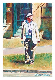 """Waiting to cross by Graham Berry Watercolor ~ 14"""" x 10"""""""