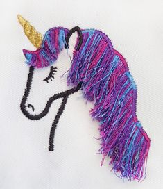 Great fringing effect using Sulky 40 variegated embroidery thread on these unicorns. Embroidery Thread, Unicorns, A Unicorn, Unicorn