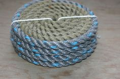 Rope Coasters Natural with Blue Gray Trim by AlaskaRugCompany, $18.00