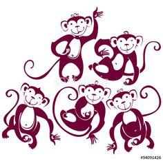 Vector: Five funny monkeys. Silhouette illustration.