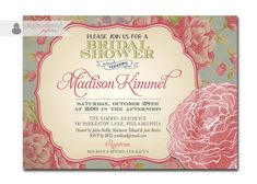 Bridal Shower Invitation Vintage Rose Rustic Floral Shabby Chic Invitation Typography Poster Printable Digital or Printed - Madison Style.