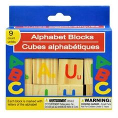 9 Count Wooden Alphabet Blocks