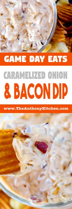 Easy Homemade French Onion Dip   Homemade onion dip recipe featuring sautéed onions, crispy bacon, cream cheese and sour cream   #gamedaydip #gamedayeats #frenchoniondip #homemadefrenchoniondip #easyfrenchoniondip