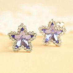 Purple Star Crystal Ear Clip/Ear Stud