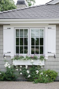 -How Window Shutters and Planter Boxes Transformed the Exterior of My House Shutters Cottage Shutters, Window Shutters Exterior, White Shutters, Cottage Windows, Diy Shutters, Houses With Shutters, House Windows, Outdoor Shutters, Windows With Shutters