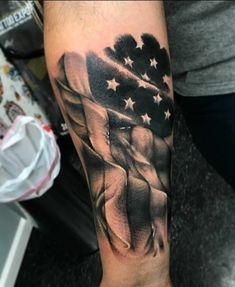 f41b31f61 American Flag Forearm Tattoo For Men. Outer Forearm Tattoo, Cool Forearm  Tattoos, Inner