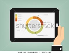 graphs and charts being demonstrated on the screen of a touch-pad - stock vector