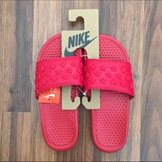 Nike Benassi Slides Sandals RARE. No longer available in stores. Nike Benassi Star slides feature a star motif on the strap, with Nike branding sitting plush in the middle of its textured footbed. No box available.   All Nike products are brand new, never worn unless stated otherwise. They are legit purchased from Nike stores. No PayPal. No trades. Negotiable price through offer button only. No low balling. Nike Shoes Sandals