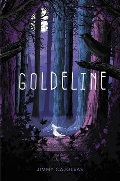 Goldeline by Jimmy Cajoleas. Beautiful background and nice stark contrast of the title and image. Love how the girl running is almost glowing white which reflects the moon behind the trees. Makes it all dark, mysterious, and suspenseful. Fantasy Book Covers, Book Cover Art, Fantasy Books, Book Cover Design, Book Design, Book Art, Layout Design, Portfolio Illustration, Children's Book Illustration