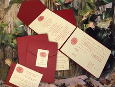 Modern Bi-Lingual Chinese-American Wedding Invitations.