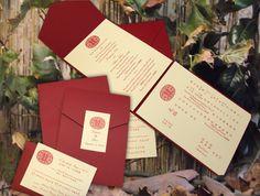Modern Bi-Lingual Chinese-American Wedding Invitations.