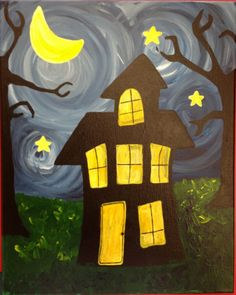 This painting features bright, fun swirls and a funky, spooky haunted house…