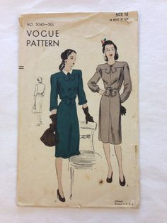 Vintage 1940s Dress VOGUE Sewing Pattern by VintageClothingDream, $35.00