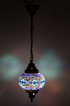 Multicolour Turkish Moroccan Style Mosaic Hanging Lamp Light Hand Made DY217