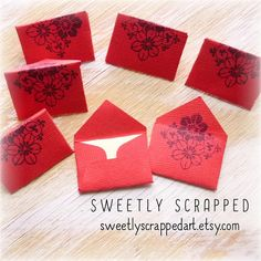 12 RED MINI CARDS ... Flower Stamped Small by SweetlyScrappedArt Flower Stamp, True Red, Envelopes, Hand Stamped, Cardmaking, Stampin Up, Card Stock, Scrapbooking, Ivory
