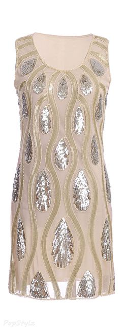 Shimmering Peacock Feather Sequin & Beads Dress