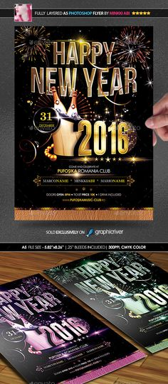 Happy New Year Flyer Template Flyer template, Template and Graphics - new year poster template