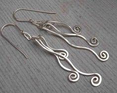 Long Silver Earrings  Tangle Dangle Swinging by nicholasandfelice, $26.00