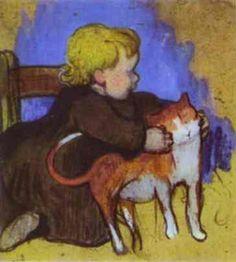 Поль Гоген. Мими и ее кошка. 1890 Henri Matisse, Henri Rousseau, Paul Gauguin, Pablo Picasso, Vincent Van Gogh, Monet, Pintura Grande, Cat Art, Henri De Toulouse Lautrec