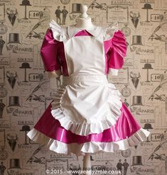 """Sissy Dress PVC Maid Dress The """"Alice Even More"""" Full of Frills and complete with Ruffled Apron Sissy Maids, French Maid Dress, Function Dresses, Alice, Lolita Cosplay, Paris Dresses, Pink White, Fashion Dresses, Fashion Tights"""