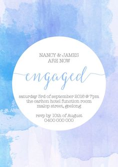 Engagement Invitations 'Watercolour' by MoopsPrints on Etsy