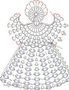 Tricô e Crochê - Knitting and Crochet: Enfeite de Natal em Crochet - Anjo Natalino Crochet Angel Pattern, Crochet Angels, Crochet Diagram, Crochet Chart, Thread Crochet, Filet Crochet, Crochet Motif, Crochet Flowers, Crochet Fabric