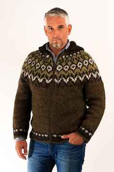 This Fisherman's cardigan has a stylish hood.  Its design is inspired by the classic Icelandic tradition of hand knitted wool sweaters.