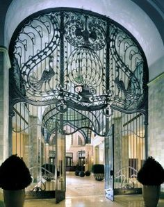 Indoor iron gates at The Four Seasons Hotel in Budapest