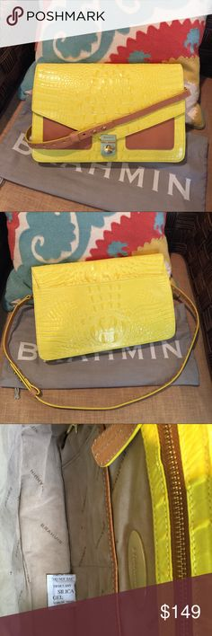 "🐠🐠BRAHMIN CITRON ""NICO"" CROC SHOULDER BAG/CLUTCH Vibrant Citron Melbourne Yellow Brahmin Convertible Shoulder Bag/Clutch  New w/o tag or registration card, dust bag included   Croc embossed leather.  Front pockets are tight so I would say they're more decorative.Left one has small scratch, not really noticeable.Carry as large clutch or attach strap for shoulder wear, 17"" drop but will adjust shorter.Back slip pocket,suede-like lining w/2 slip pockets,1 zipper compartment.   Goldtone…"