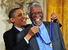 President Barack Obama awards the Presidential Medal of Freedom to sports legend Bill Russell in Recreational Sports, Bill Russell, Bruce Jenner, Amazing Grace, Barack Obama, Have A Great Day, Sports News, Presidents, Freedom