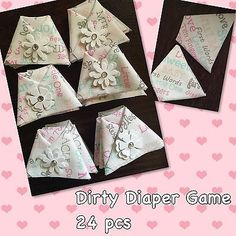 24PC Dirty Diaper Baby Shower Game Girl Theme W/ Safety Pins
