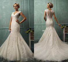 2015 Amelia Sposa V Neck Cap Sleeve Lace Tulle Mermaid Wedding Gowns Appliqued Fit Flare Sheer Backless Plus Size Bridal Party Dresses, $127.32 | DHgate.com