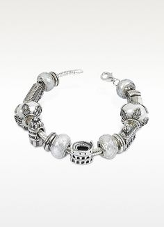 Celebrate Italy with this spectacular sterling silver bracelet featuring some of the country's most renowned sites, including: Rialto Brigde, St. Peter's, the colosseum, the tower of Pisa and Ponte Vecchio. Made in Italy. Pandora Bracelets, Pandora Charms, Beaded Bracelets, Bracelets En Argent Sterling, Lucky Charm Bracelet, Bag Accessories, Women Jewelry, Jewels, Journey