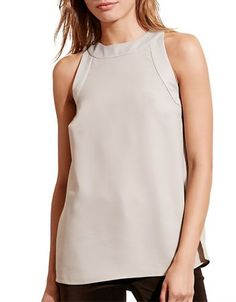 Lauren Ralph Lauren Crepe Tank Top Women's Grey 2