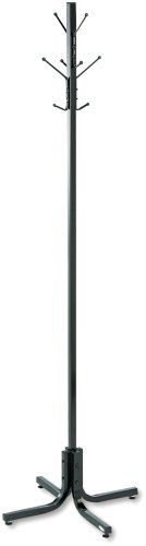 Safco Metal Coat Rack with Four Ball-Tipped Double-Hooks, Black by Safco. $49.98. Base Size 21-inch dia.. Material Thickness 16 ga. (1-inch square tube). Hook Quantity 4 - doubles. Capacity - Weight 10-pound per hook. Material(s) Steel. Dress up your guest area! The freestanding costumer features four double hooks that securely hold up to eight garments. Steel hooks have ball tips to prevent damage to garments. Wide 21-inch base provides stability.. Save 42%!