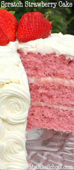 The most DELICIOUS scratch strawberry cake recipe! Super moist and flavorful-- from MyCakeSchool.com!
