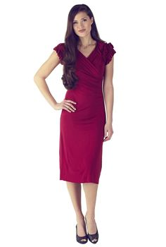 Modest Dresses in Red: The Rebecca dress is simply stunning. The detailed gathered and ruffled sleeves and high cross-over v-neckline add to it's charisma. This style also features slight ruching on the sides to help flatter and slim the waist.     Wearing the Rebecca you'll feel chic and polished at any event from casual to formal! $49.99 http://www.jenclothing.com/mi-1205-rebecca-red.html