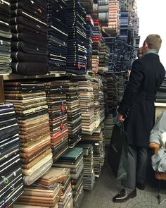 """atimelessman: """" il Vecchio Drappiere, Milan. Also known as """"heaven"""" if you love cloth. This wall would be roughly 15% of what is actually in the shop. """""""