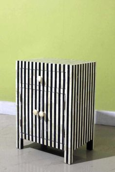 Herringbone Inlay Bedside Table |Luxury work Bedside Table  - By Bone inlay Interior Furniture