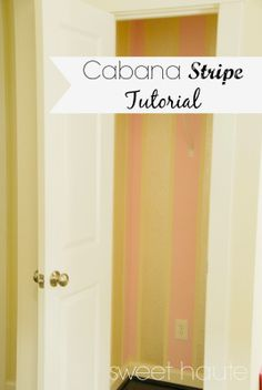 Cabana Stripes Tutorial accent great wall stripes tutorial perfect for girls room, playroom, studio, office, closet, craft room, and nursery. This technique is using the perfect candy pink color and an iridescent pearl glaze making the details shine- SWEET HAUTE Blog! Pin now....read later! #diy #project #idea #craft