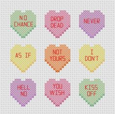 Mean Candy / Conversation Hearts Cross Stitch Pattern ( Printable PDF ) Nasty Yum. $2.00, via Etsy.