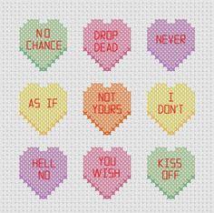 Mean Candy / Conversation Hearts Cross Stitch Pattern ( Printable PDF ) Nasty Yum. $2.00, via Etsy.
