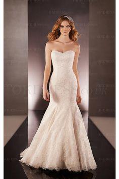 Sweetheart Court Train Zipper Sleeveless Mermaid Wedding Dresses - by OKDress UK