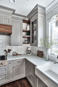 Home Remodel On A Budget Grey Kitchen Design - Home Bunch Interior Design Ideas.Home Remodel On A Budget Grey Kitchen Design - Home Bunch Interior Design Ideas Farmhouse Kitchen Cabinets, Kitchen Cabinet Design, Kitchen Redo, Home Decor Kitchen, Kitchen Rustic, Kitchen Corner, Kitchen Storage, Corner Cupboard, Kitchen Countertops