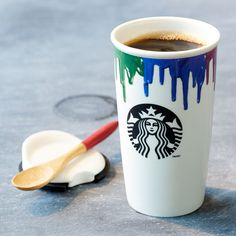 Band of Outsiders Double Wall Ceramic Traveler - Rainbow, 12 fl oz  -  starbucks, cup, mug, coffee, tea, painted.  want.     lj
