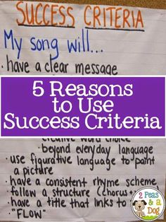 5 Reasons to use Success Criteria in your classroom.
