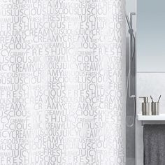 Rideau de douche en textile argent l.180 x H.200 cm, Creamy SENSEA | Leroy Merlin