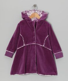 Take a look at this Plum Velour Coat - Toddler & Girls by Trish Scully Child on #zulily today!