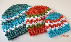 A fan request - a hat with Leaping Stripes and Block Blanket pattern. So here we are: the Leaping Stripes and Blocks Beanies, in sizes for the whole family! Crochet Men, Crochet Baby Hat Patterns, Bag Crochet, Crochet Baby Hats, Crochet Beanie, Crochet Scarves, Crochet Crafts, Crochet Projects, Free Crochet